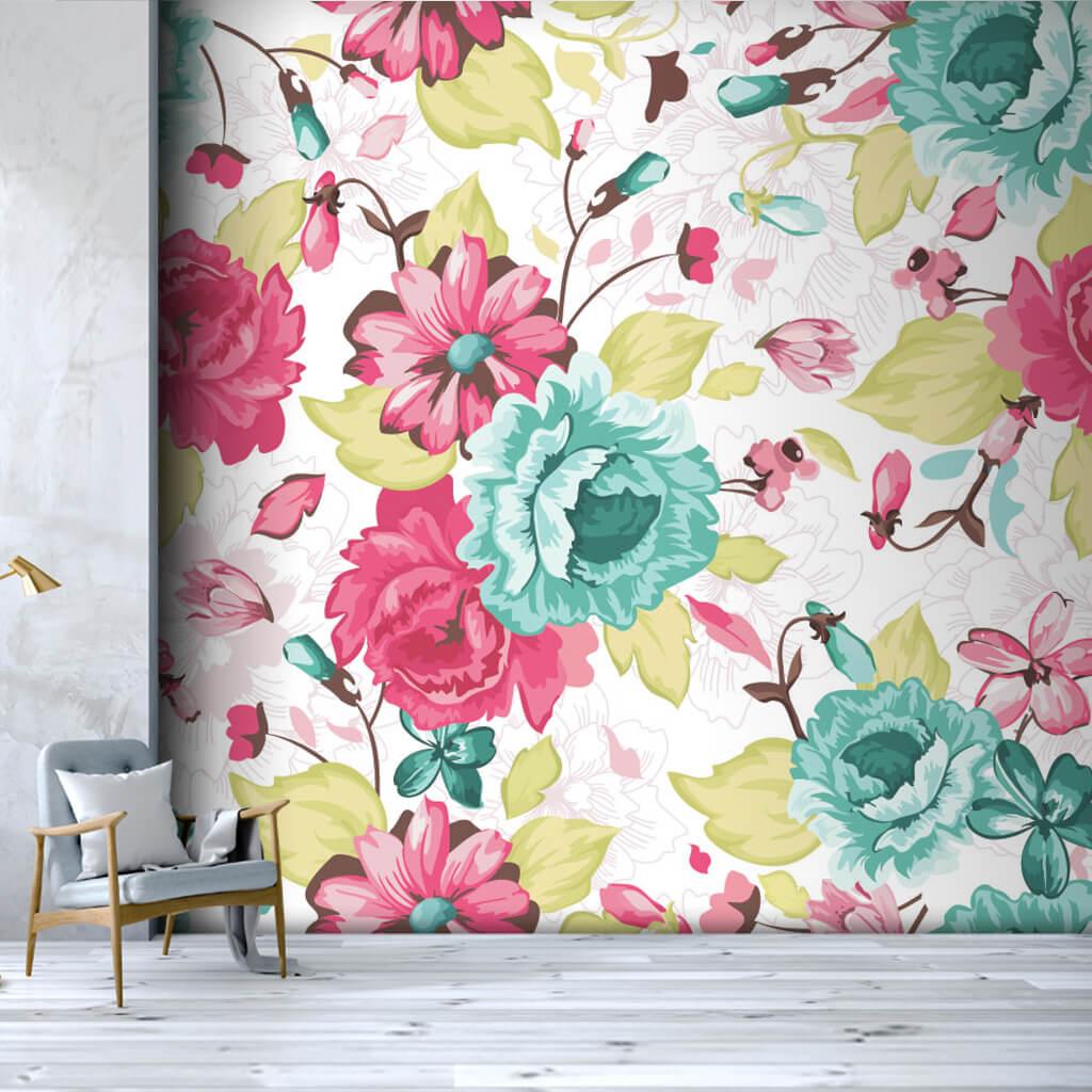 Beyaz üzerine çiçekler desen kumaş baskı duvar kağıdı