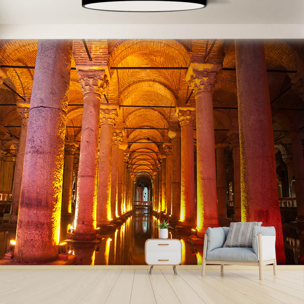 Basilica Cistern Istanbul 3D perspective custom  wall mural