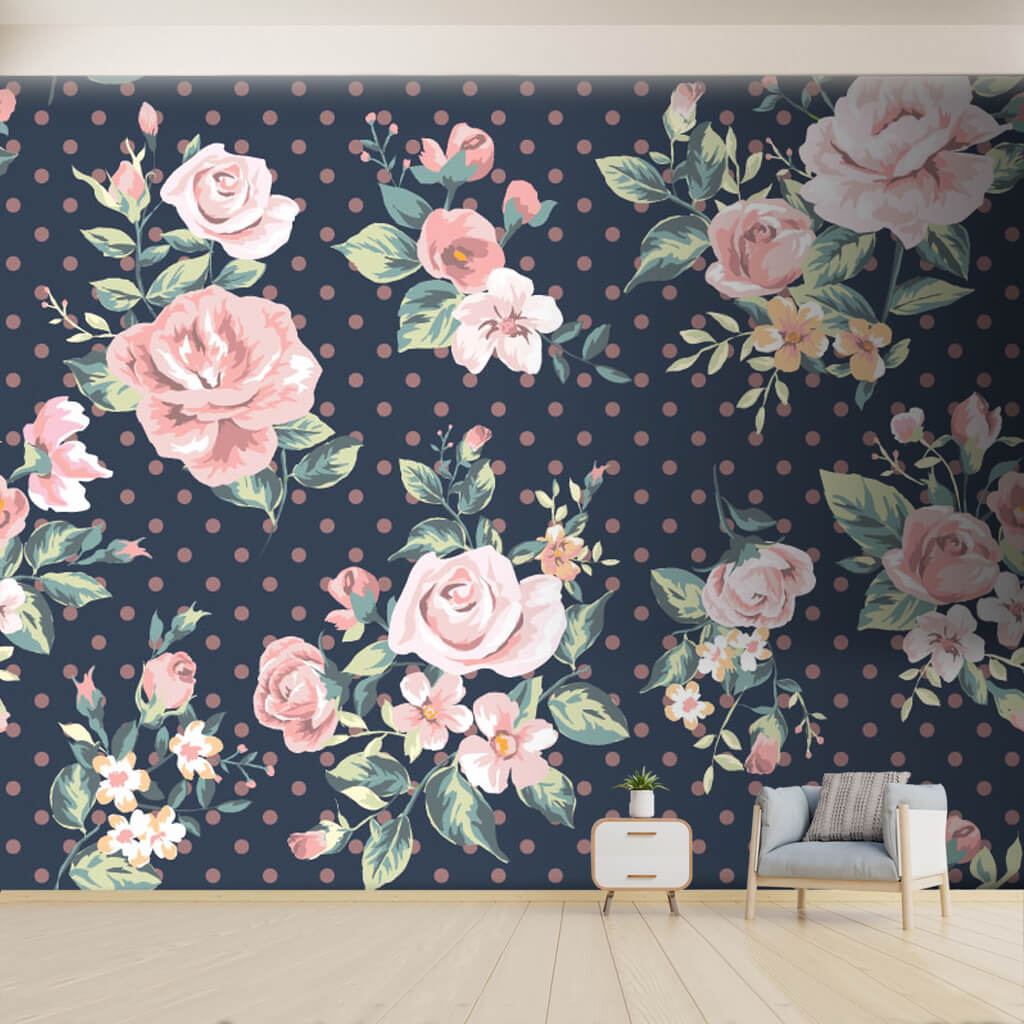 Pink Polka Dot On Navy Blue Vintage Floral Custom Wall Mural