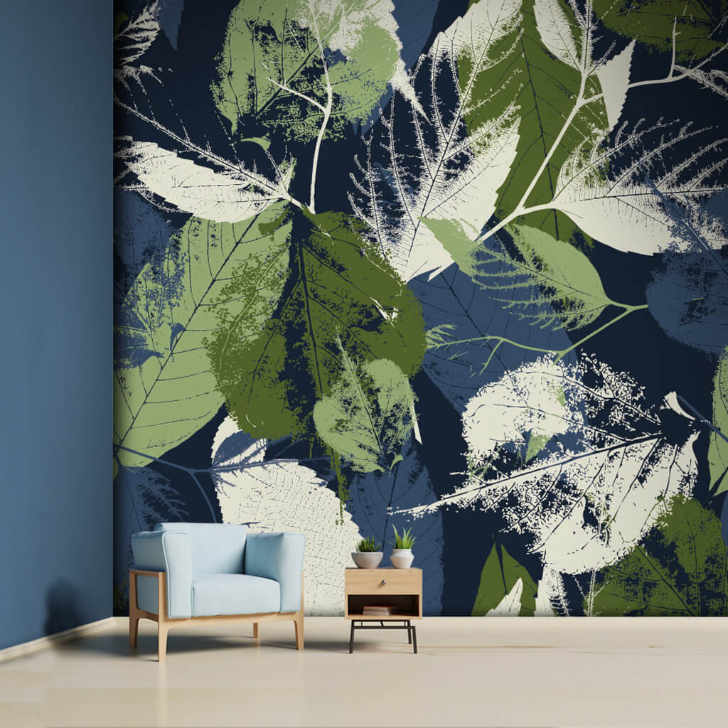 Green leaf traces on navy blue fossil grunge  wall mural