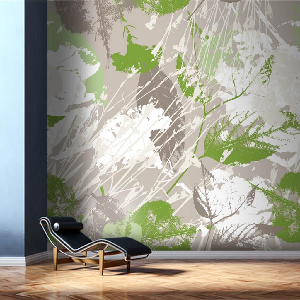 Gri üzerine yeşil renklerle yaprak deseni grunge duvar kağıdı