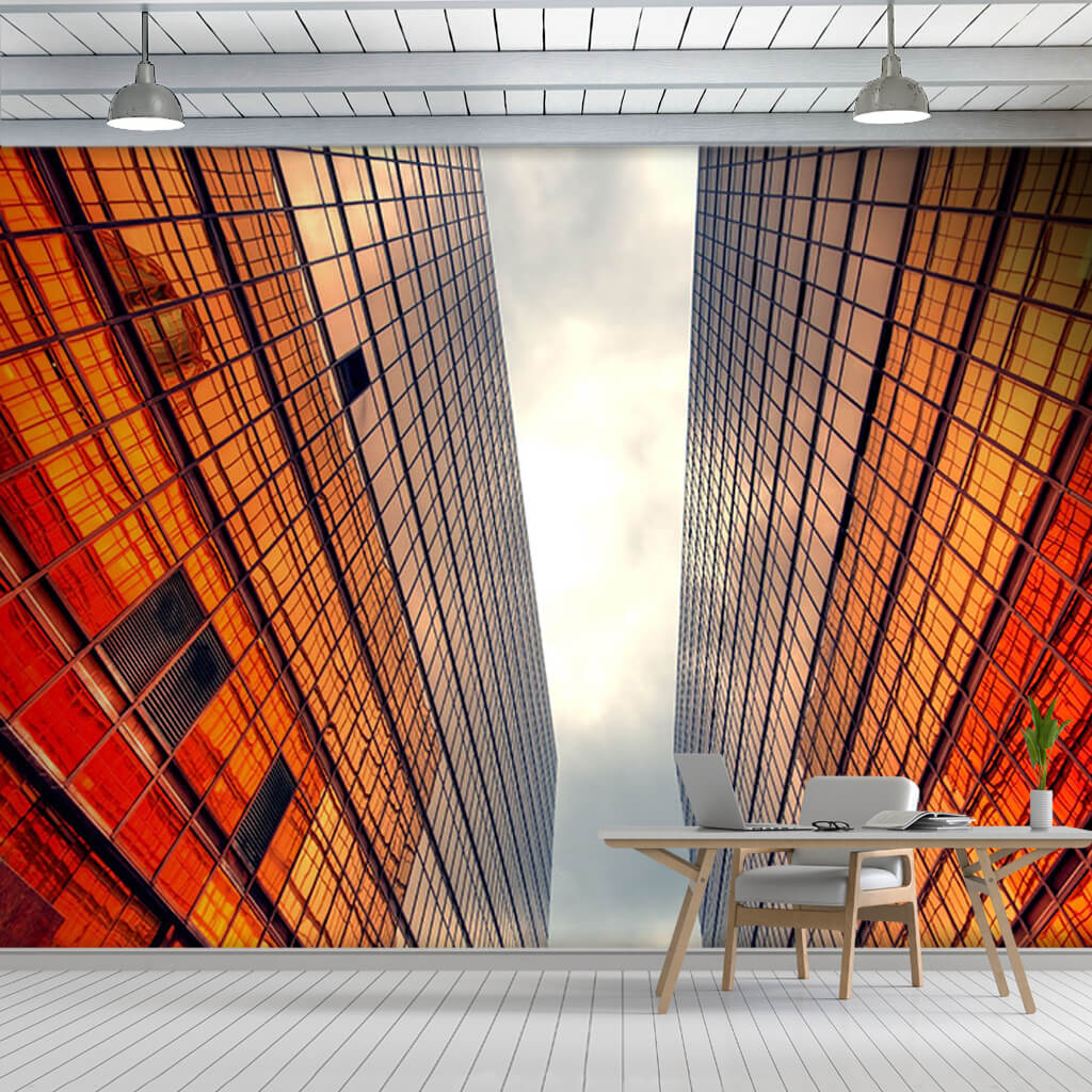 Red reflection on mirrored glass building hallway wall mural