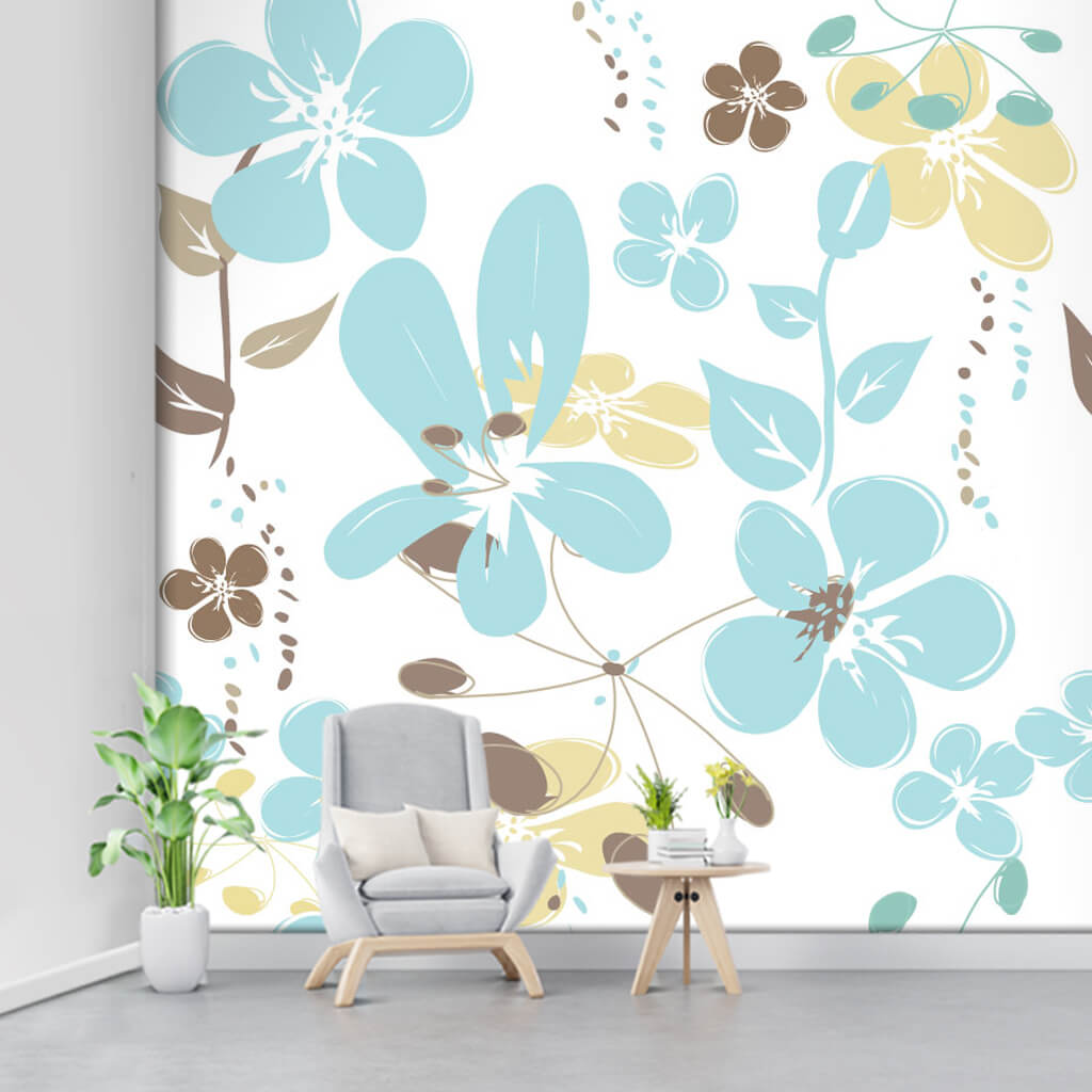 Blue leafy flowers on white vectorial custom wall mural