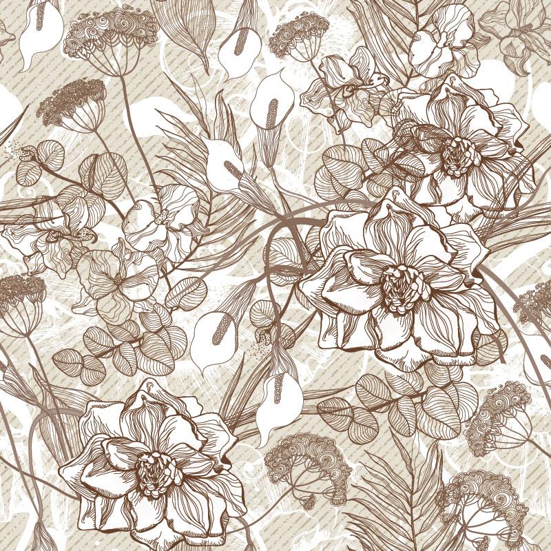 Sepia Vector Linear Retro Flower Pattern Custom Wall Mural