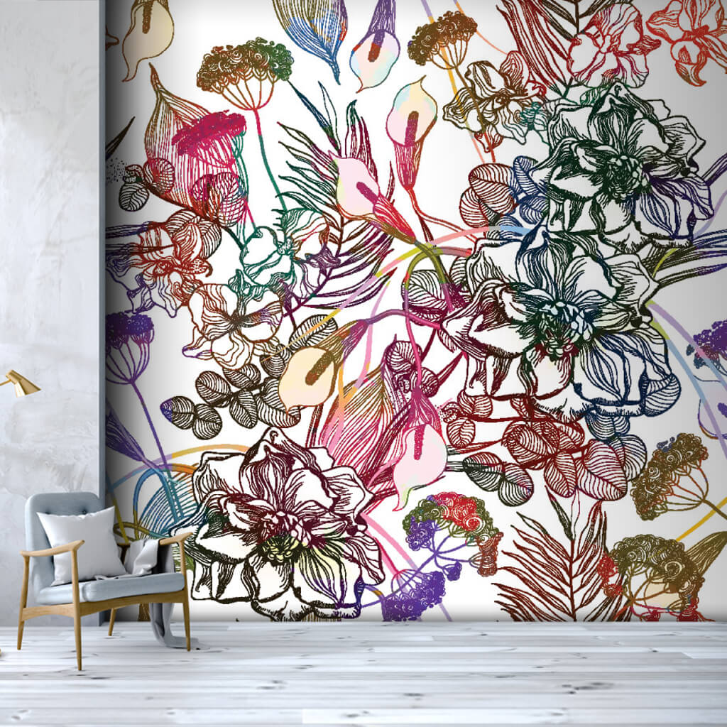 Colorful linear vector retro flower pattern wall mural