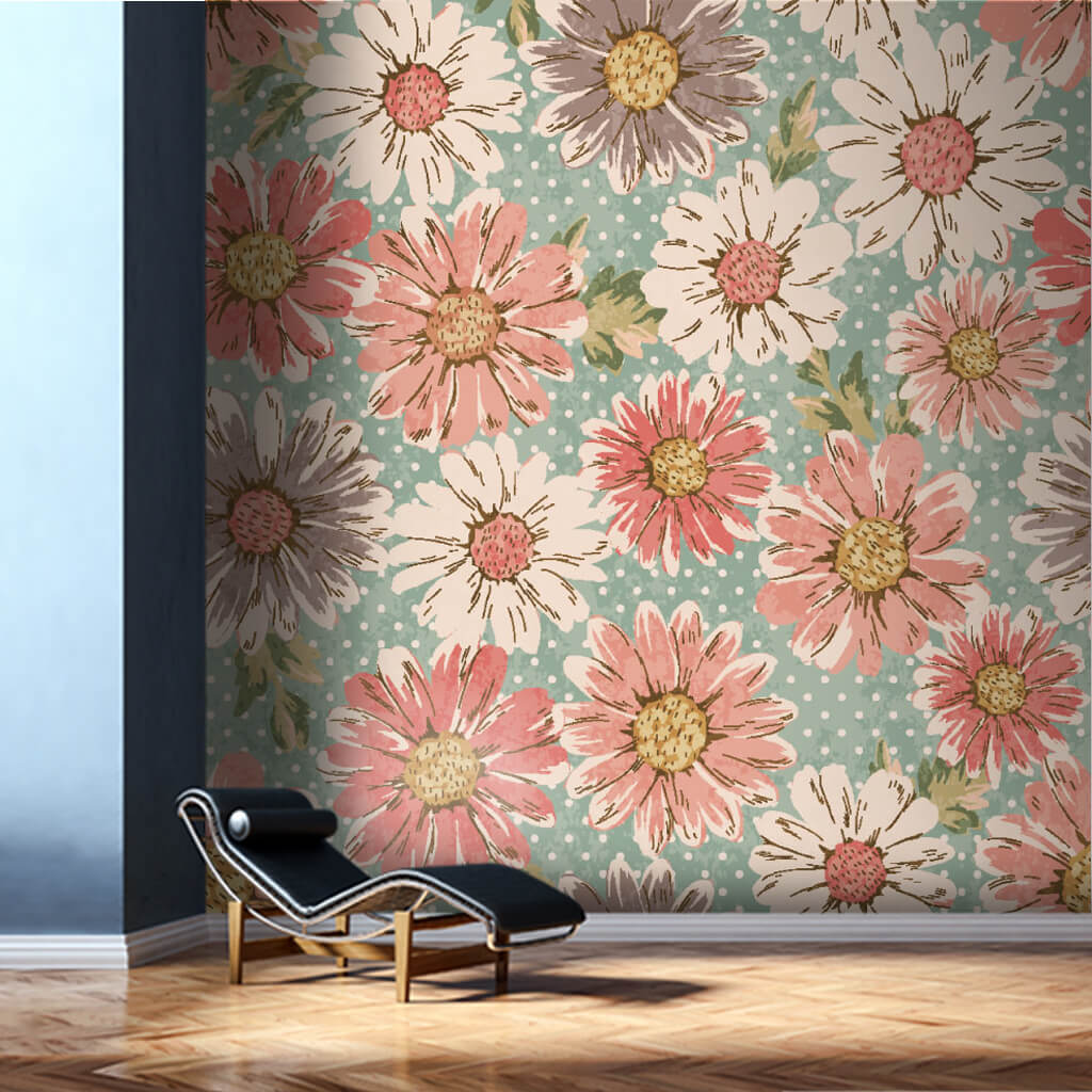 Daisies on green polka dot background retro wall mural
