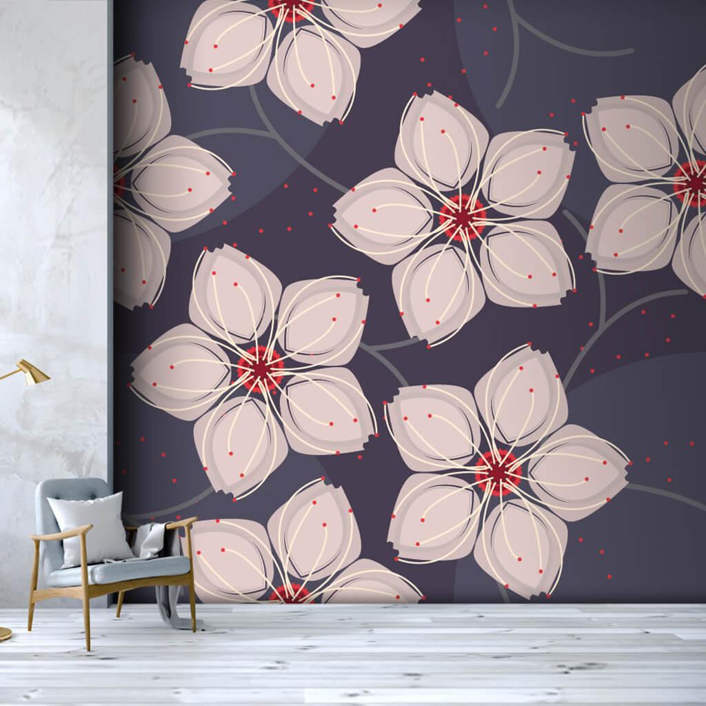Beyaz yapraklı sakura kiraz çiçeği retro desen duvar kağıdı