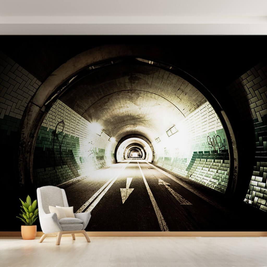 3 boyutlu derinlik görseli olan tünel duvar kağıdı