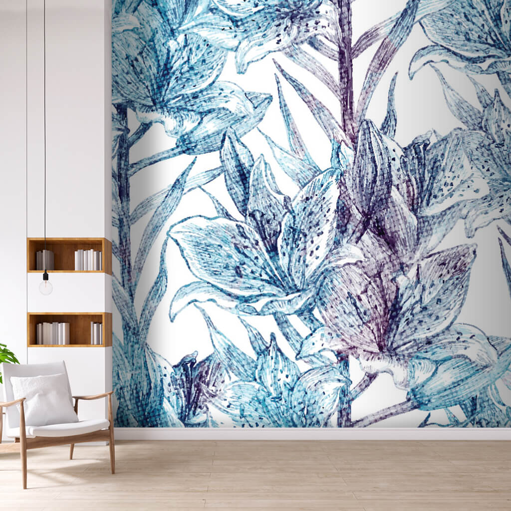 Blue green floral print pattern custom scalable wall mural