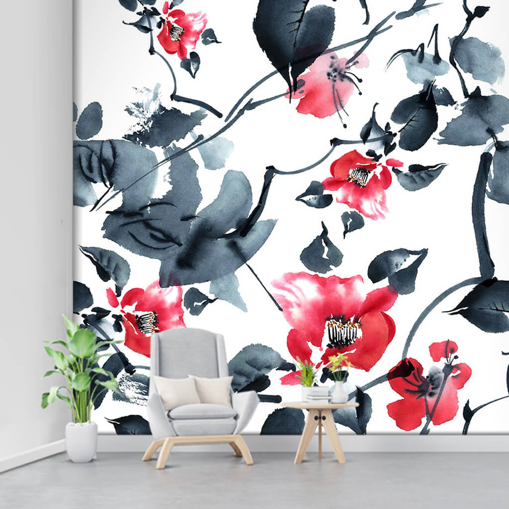Branch of flowers in watercolor black and red ink wall mural