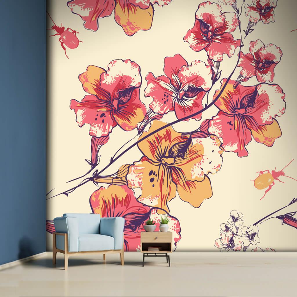 İlkbahar temalı renkli çiçekler ve böcek çizim duvar kağıdı