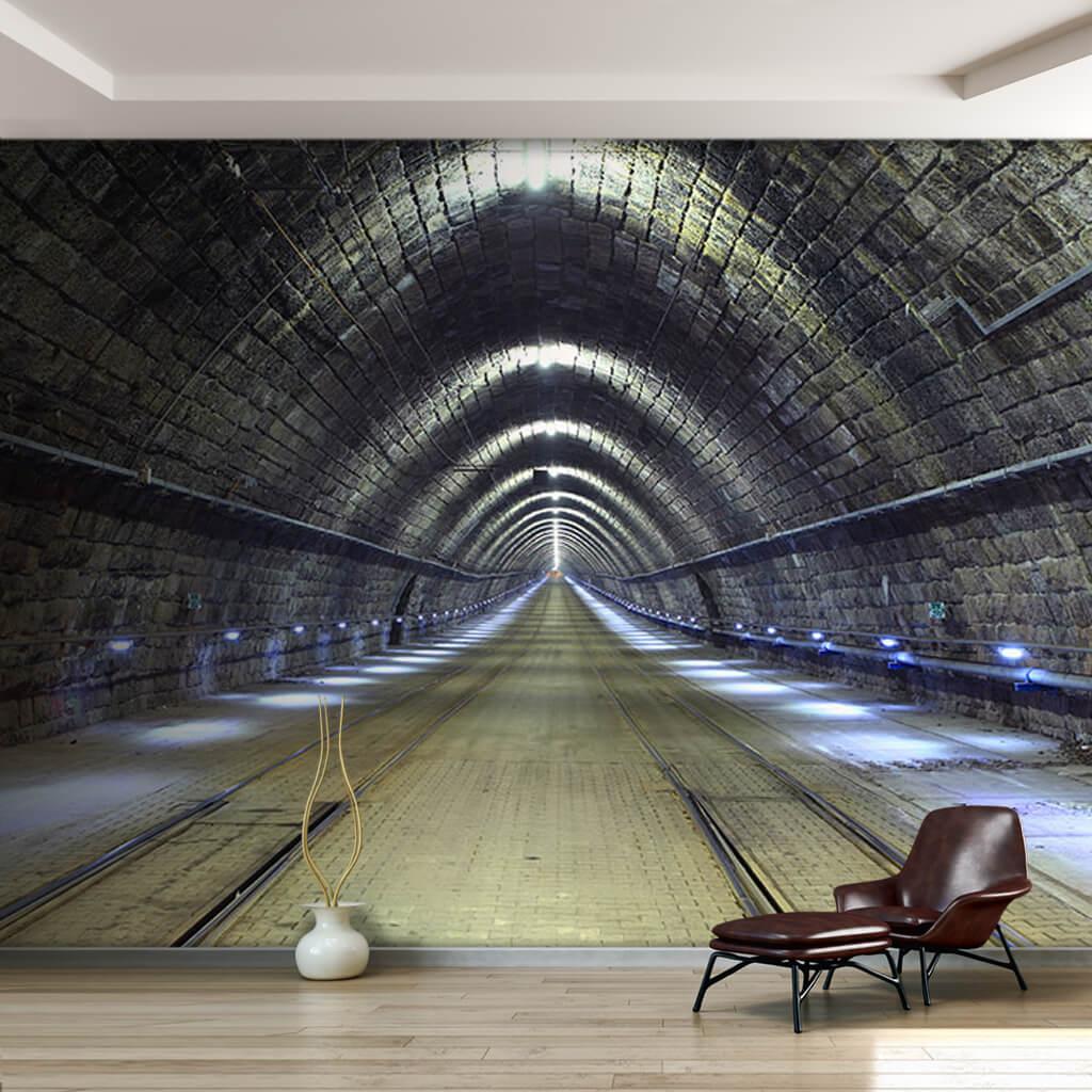 Metropol rail system tunnel 3D scalable custom wall mural