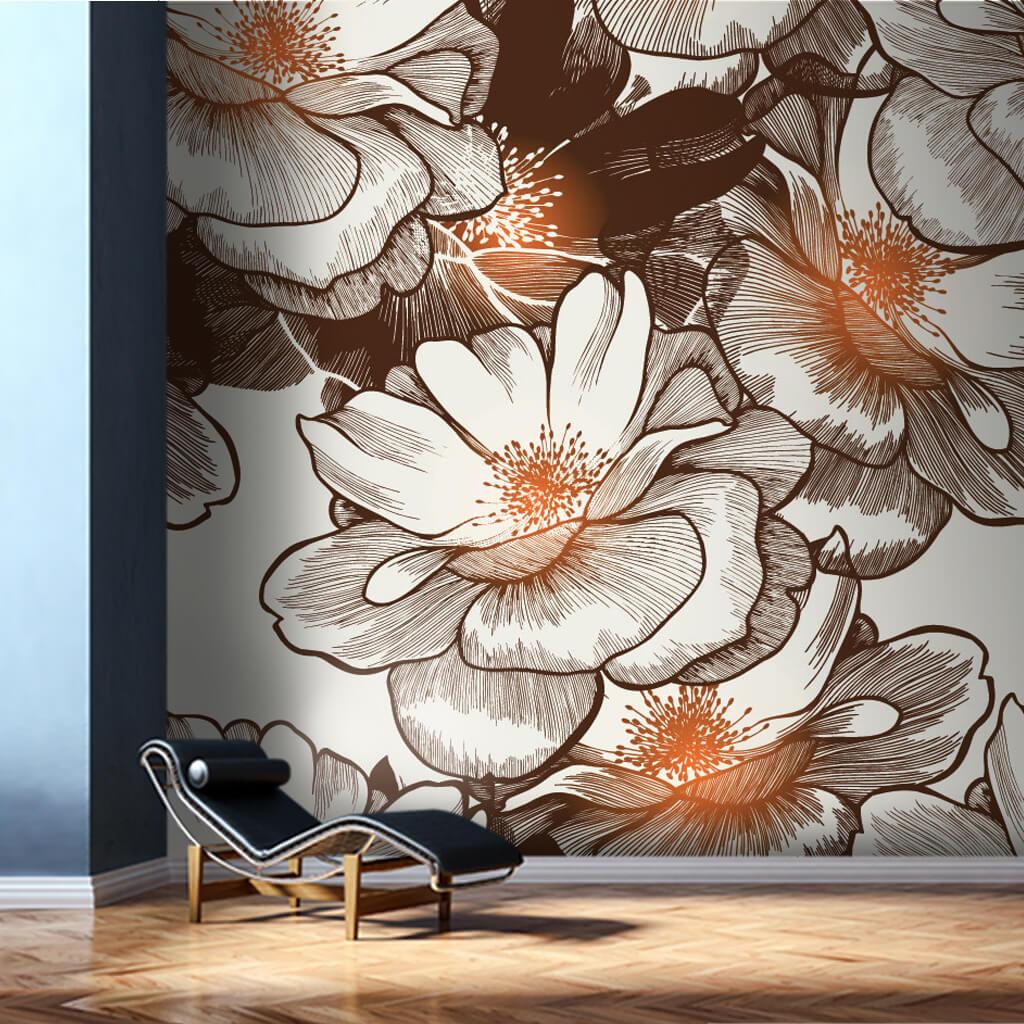 Beyaz nergis çiçekleri vektörel çizim duvar kağıdı
