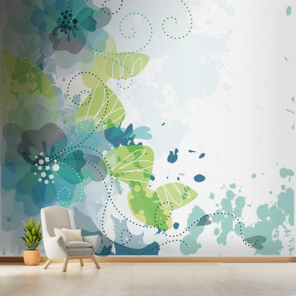 Artistic floral pattern motif background custom wall mural