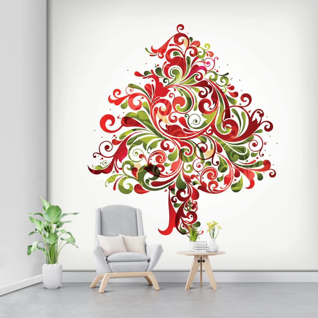 Beyaz zemin üzerine yeşil kırmızı süslemeli ağaç duvar kağıdı