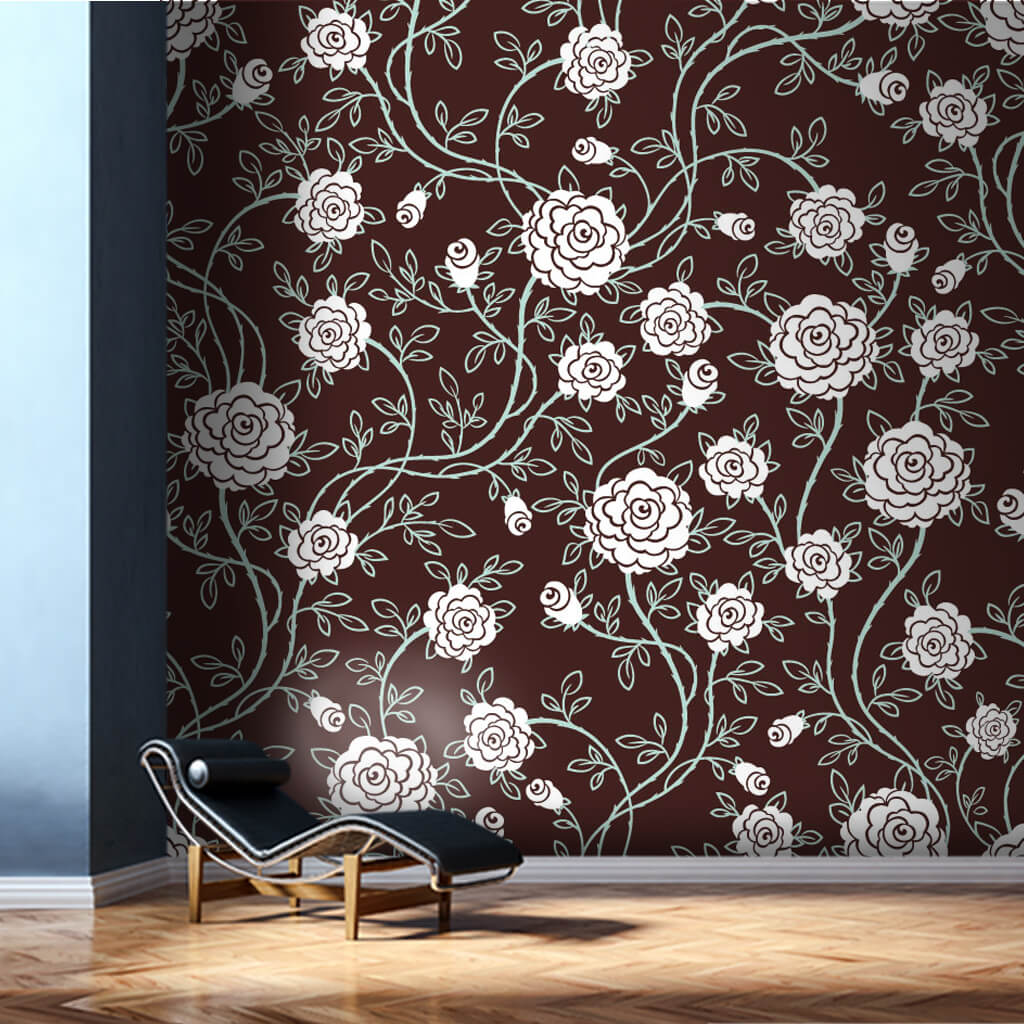 Vintage rose petals pattern with retro colors wall mural