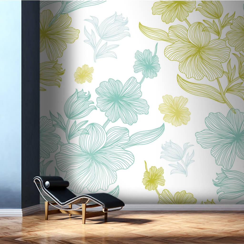 Beyaz üzerine japon gülü çiçek vektörel duvar kağıdı