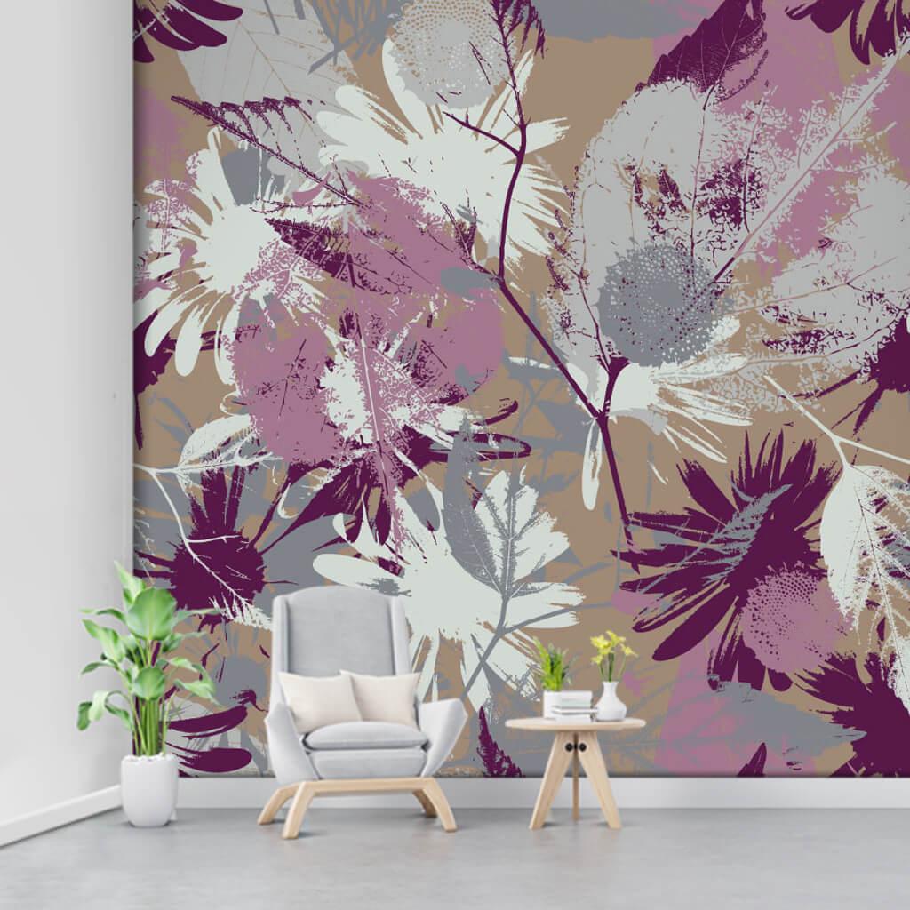 Purple grunge flower pattern on milky brown custom wall mural
