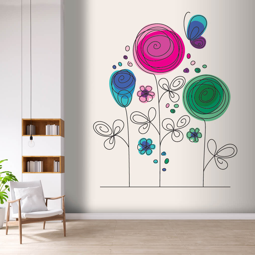 Butterfly and flowers graphic drawing abstract wall mural