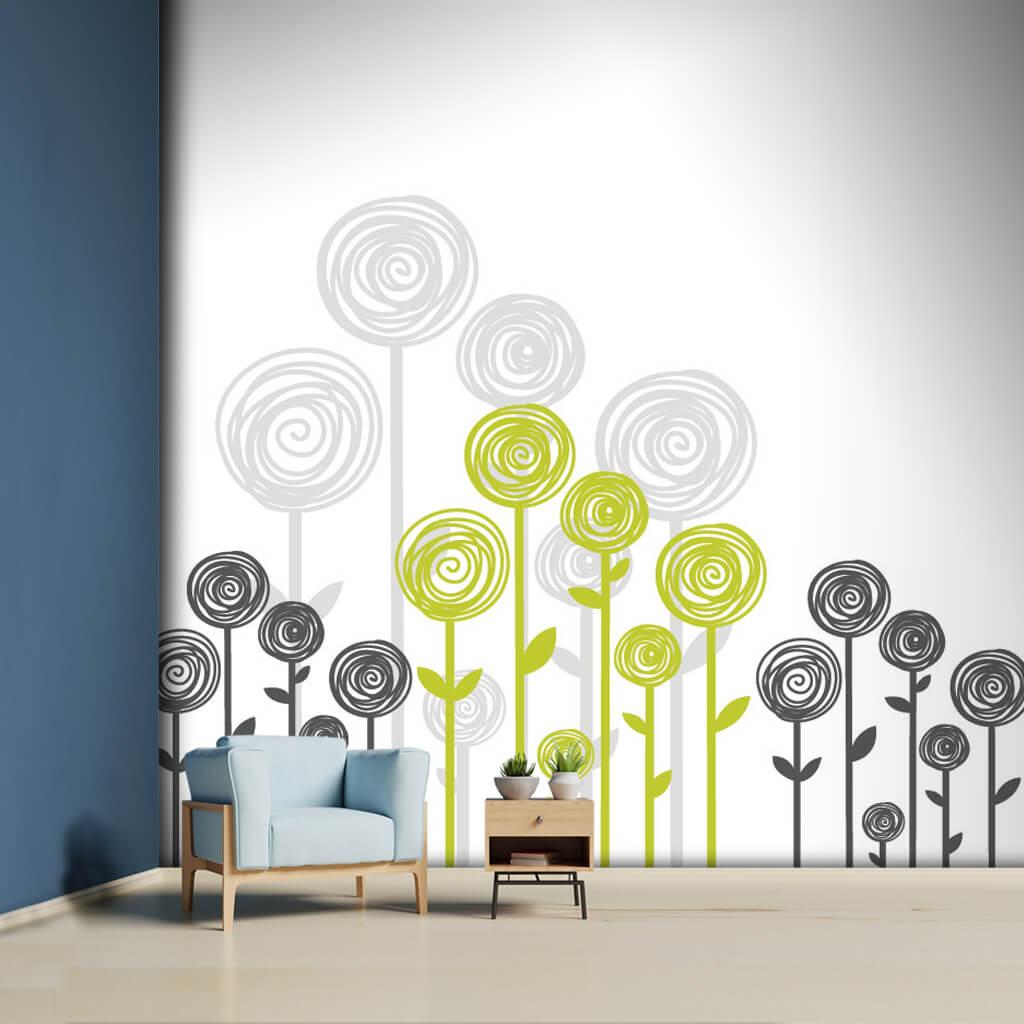 Gri antrasit yeşil çiçek ilistrasyon ve grafik duvar kağıdı