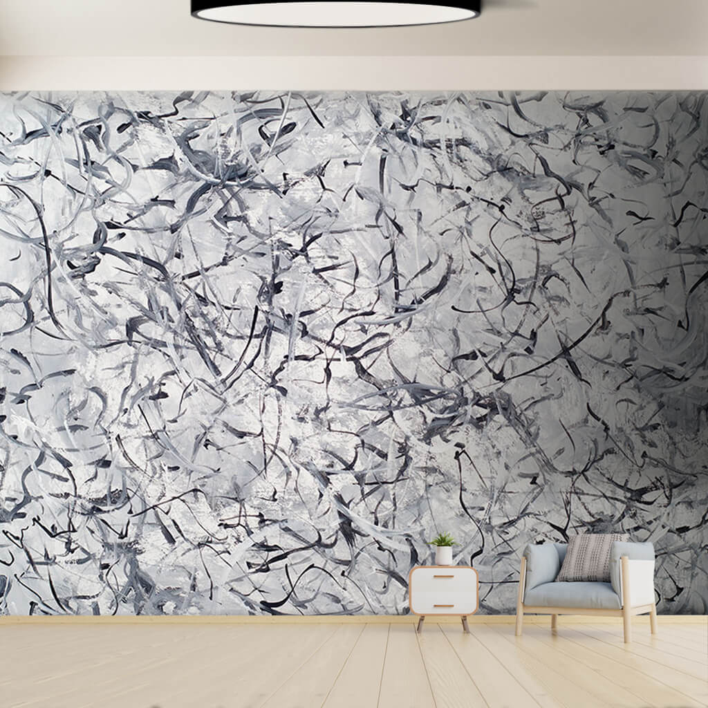 Black and white mess wind and winter custom wall mural