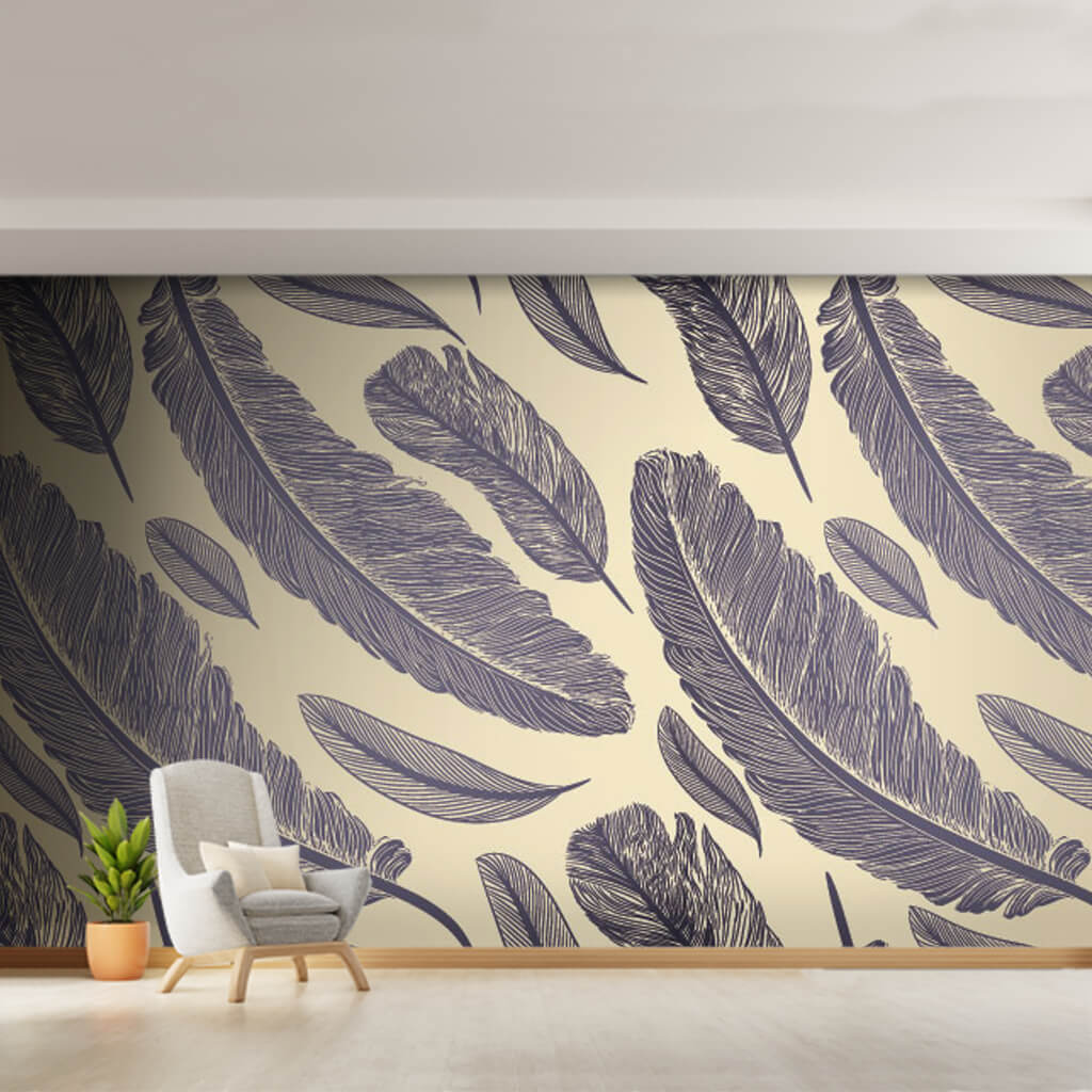 Black bird feathers pattern on yellow background wall mural