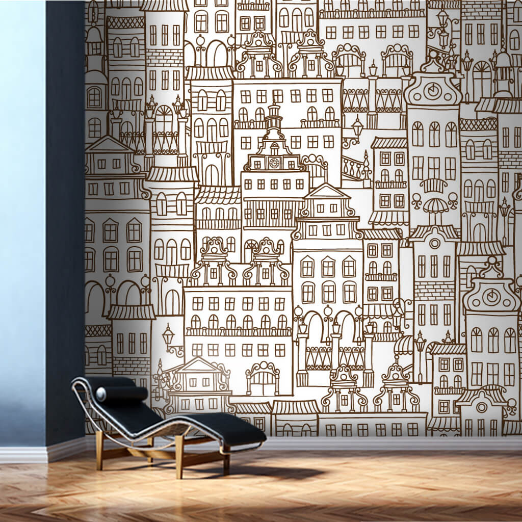 City urban buildings apartments pattern drawing wall mural