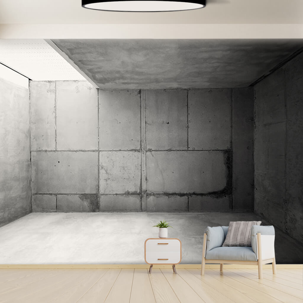 Black concrete empty room scalable custom wall mural