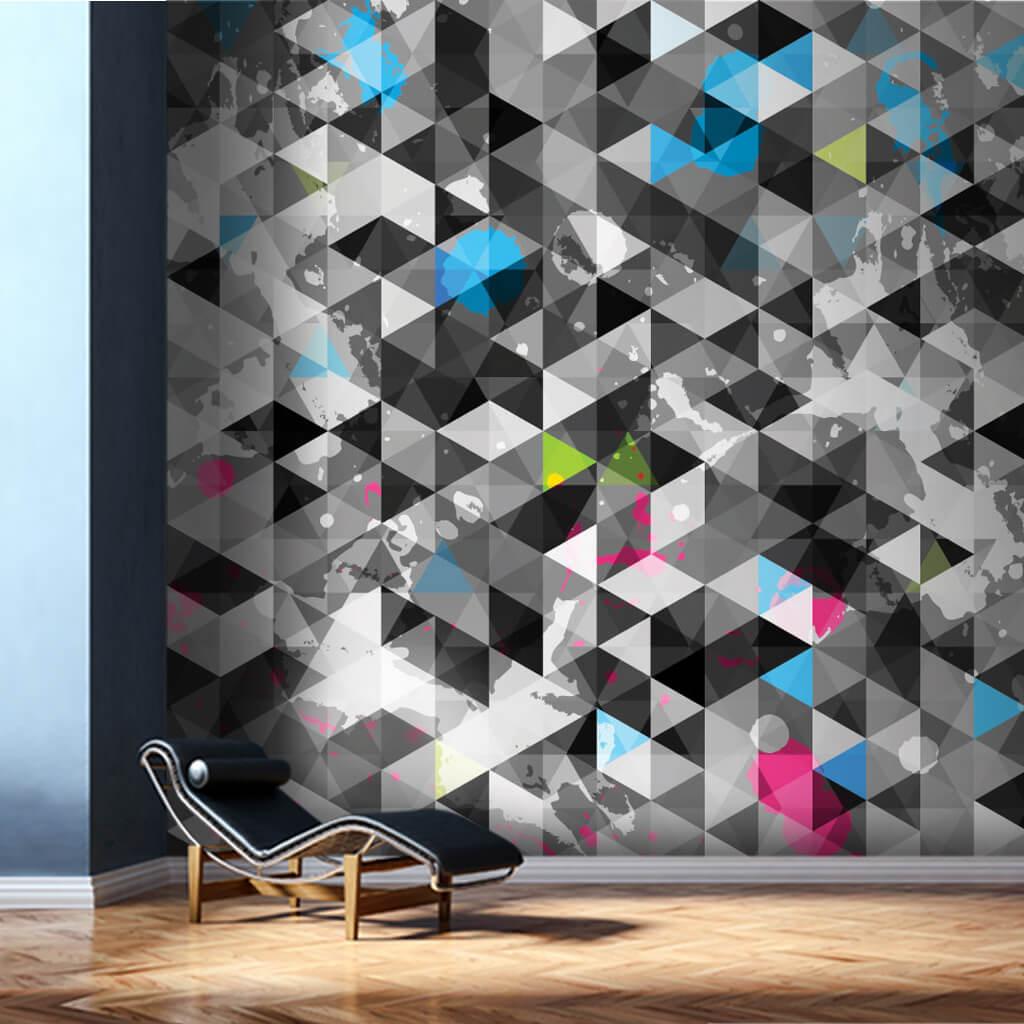 Beyaz gri altıgen kristal geometrik doku duvar kağıdı