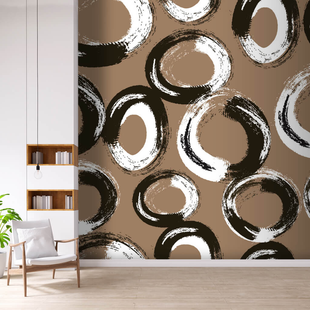 Black and white ring circles on brown custom wall mural