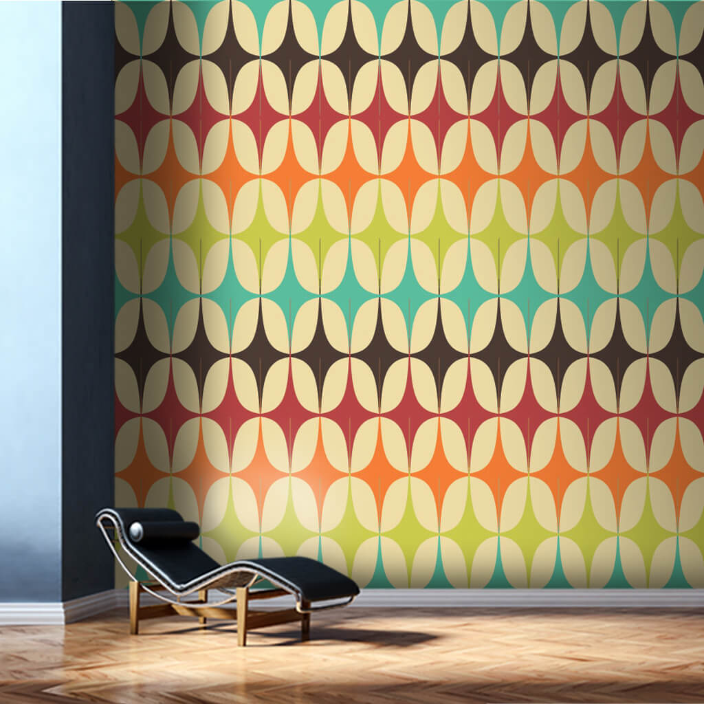 Geometrik yıldız şekilli retro renkli desen duvar kağıdı