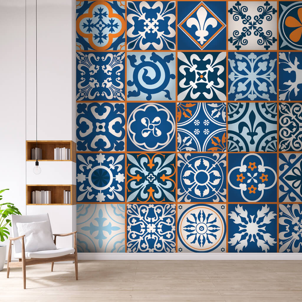 Blue Moroccan tile set ceramic pattern  custom wall mural