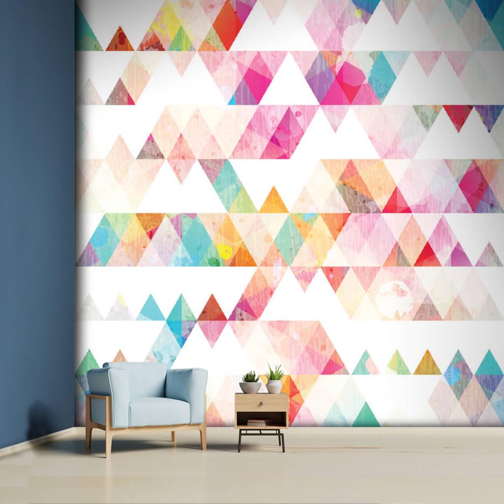 Gökkuşağı renkleriyle üçgen desenler grunge efekti duvar kağıdı