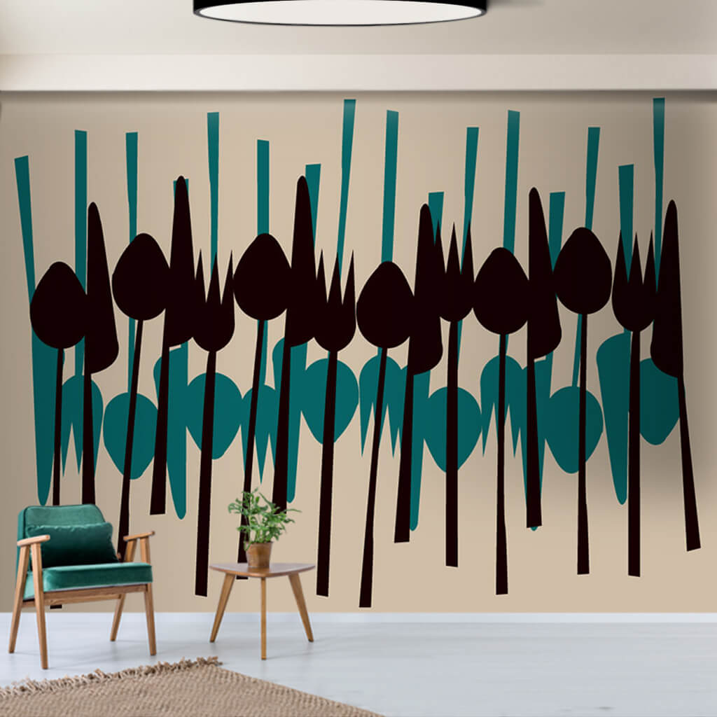 Çatal kaşık bıçak desenli grafik çizim mutfak duvar kağıdı