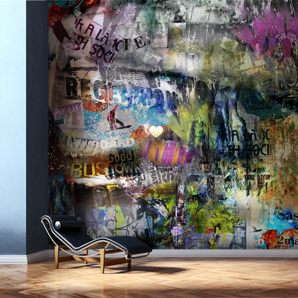 Grunge tarzı sokak sanatı graffiti resmi duvar kağıdı