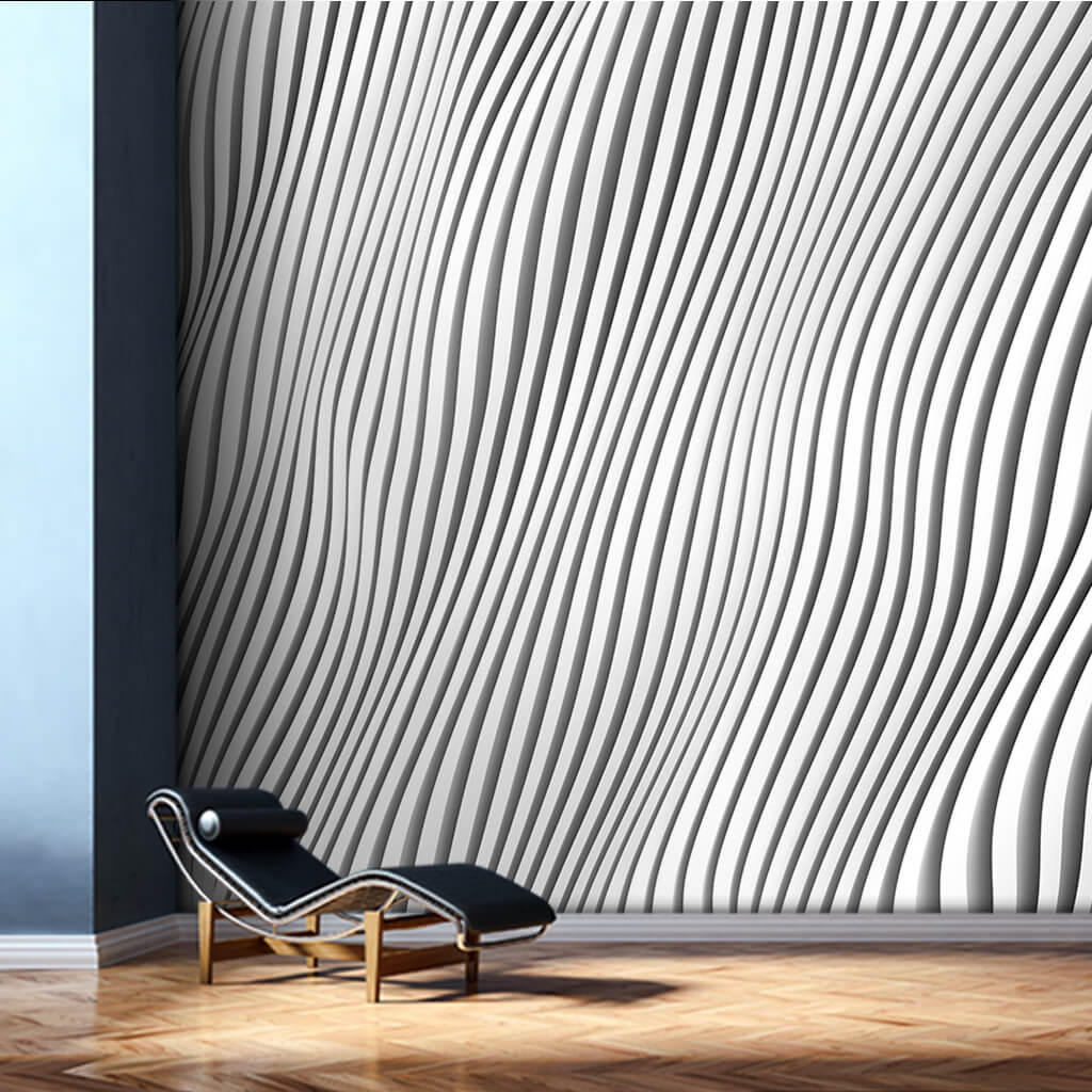 Architectural white plaster vertical waves 3D wall mural