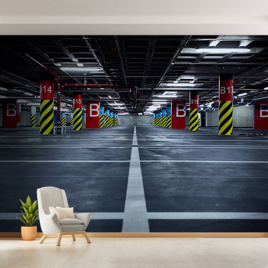 Parking garage 3D colorful image and columns wall mural