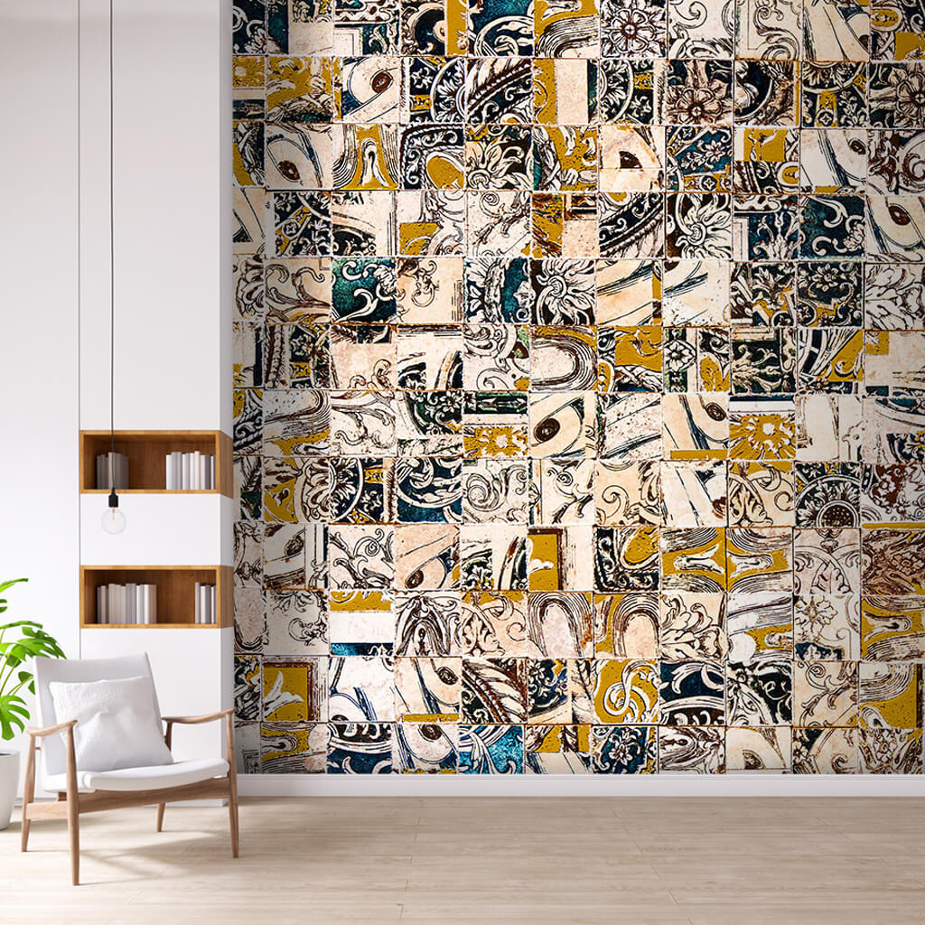 Collage patchwork marble patterned patch custom wall mural