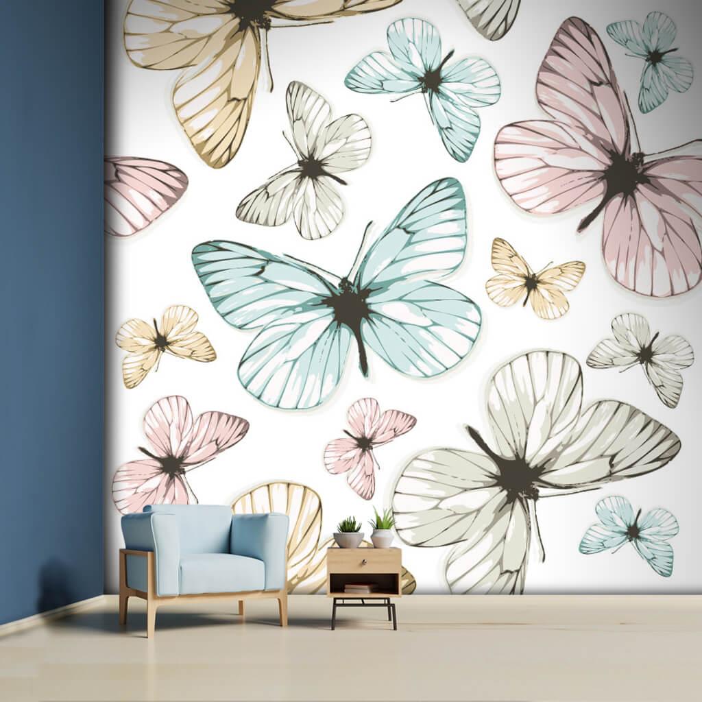 Beyaz üzerine kanatlarını açmış kelebekler desen duvar kağıdı