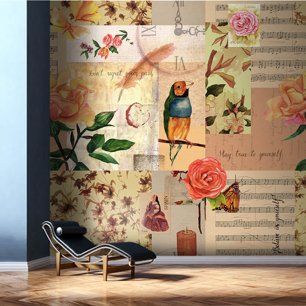 Colorful parrot roses and music themed collage wall mural