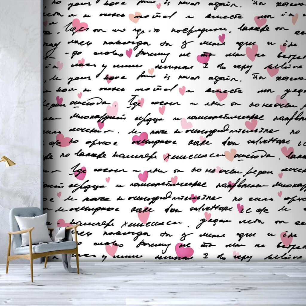 El yazısıyla kalpli mektup aşk temalı duvar kağıdı