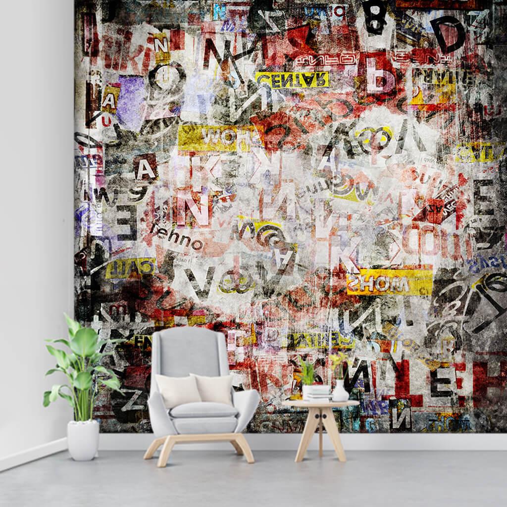 Grafiti harfler ve kelimeler kolaj dinamik boyama duvar kağıdı