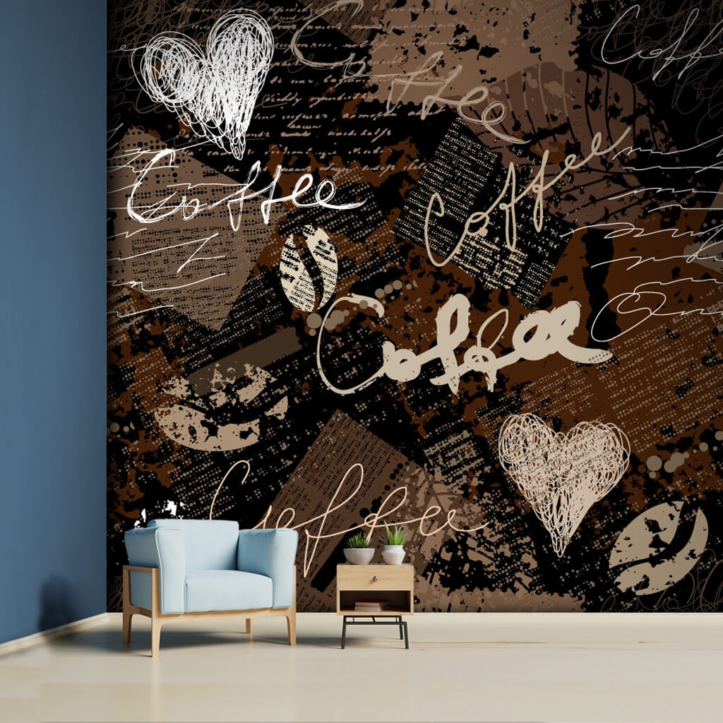 Coffee with handwritten grunge collage custom wall mural