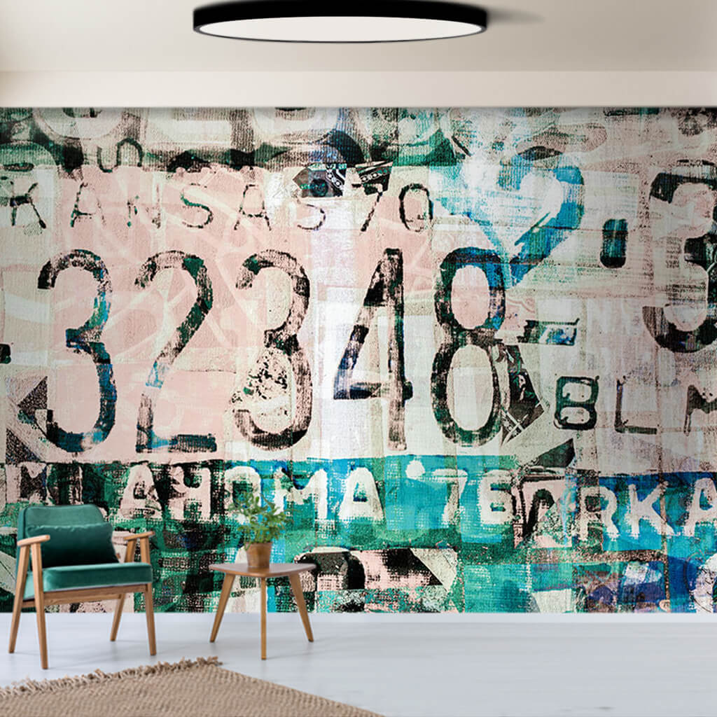 Car license plate numbers themed grunge custom wall mural