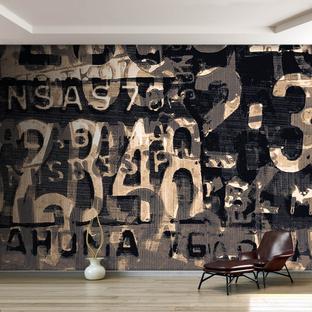 Brown car license plate numbers abstract collage wall mural