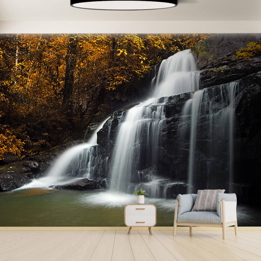 Autumn colors yellow leafy forest and waterfall wall mural