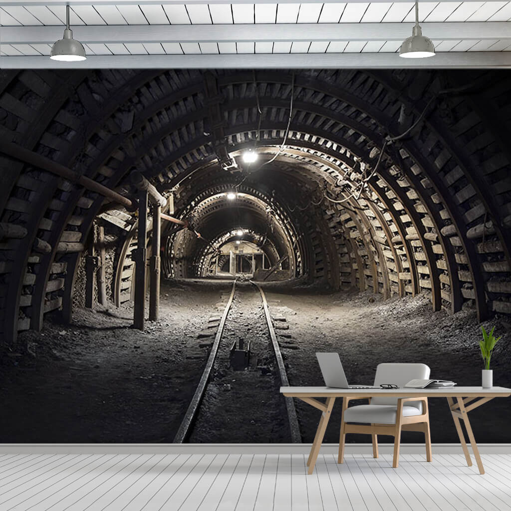Coal mine tunnel rails and 3D depth perspective wall mural