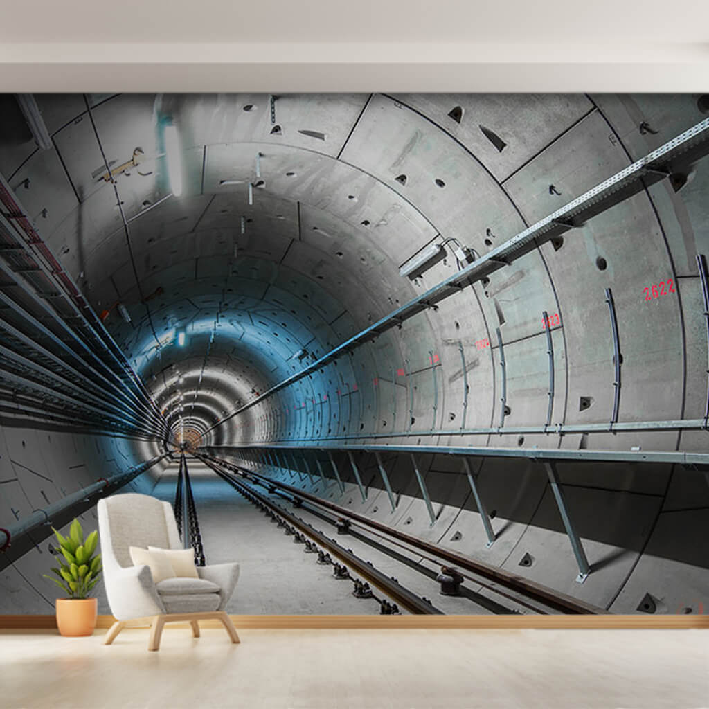 Metro tunnel rails and lighting 3D perspective wall mural