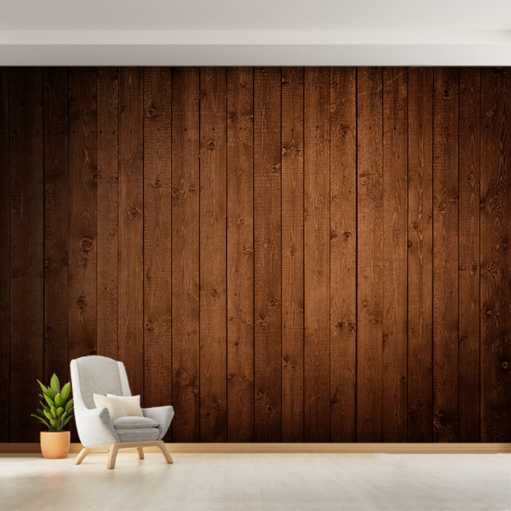 Dark brown gnarled wooden tree vertical stripes wall mural