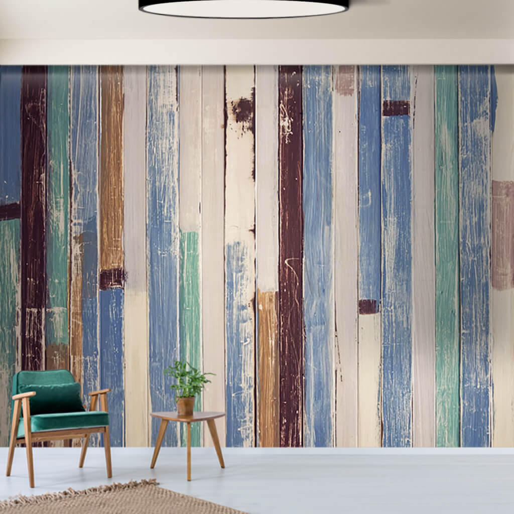 Pastel blue white painted vertical wooden stripes wall mural